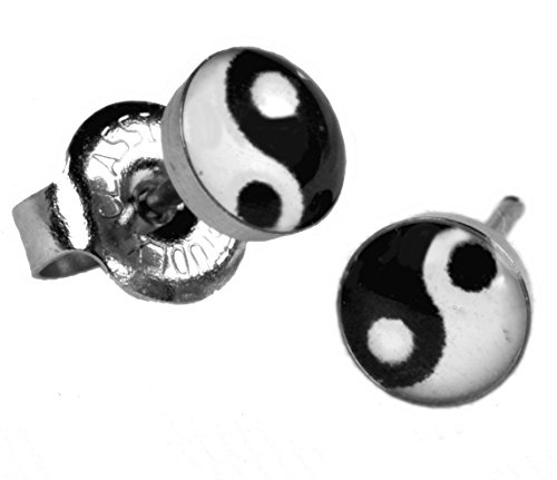Ear Piercing Earrings Yin And Yang Stainless Silver Studs Studex System 75 Hypoallergenic