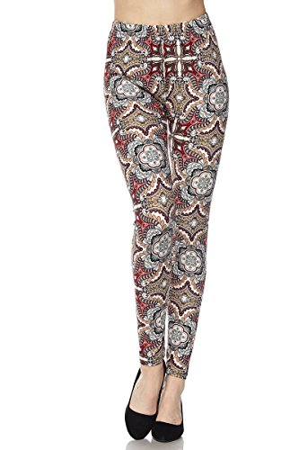 PALI USA Womens Soft Stretch Variety Pattern Printed Brushed Leggings Pants (Wallpaper, One Size(0-12))