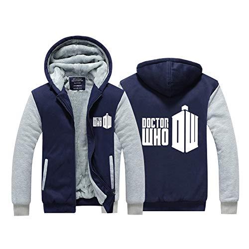 PONGONE Doctor Who Thick Hoodie Cosplay Warm Velvet Jacket Zip Up Fleece Sweatshirt 3XL -