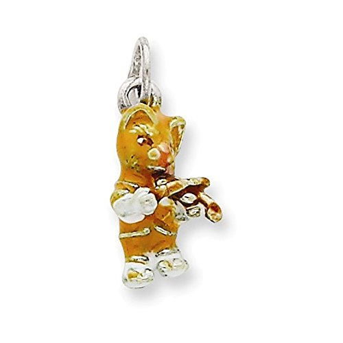 Jewelry Adviser Charms Silver Enamel Cat Playing the Violin Charm ()