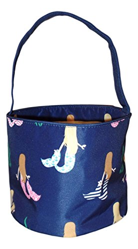 Custom Halloween Tote Bags (Fabric Bucket Tote Bag for Children - Toys - Easter Basket - Can Be Personalized (Navy Mermaid Print))