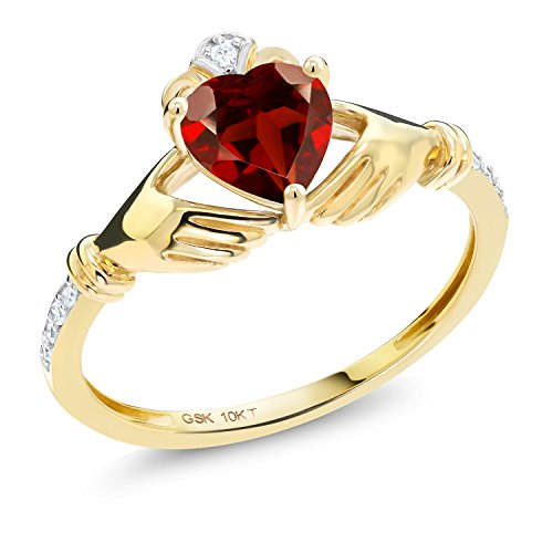 Yellow Gold Genuine Garnet Ring - Gem Stone King Irish Celtic Claddagh Red Garnet and Diamond Accent 10K Yellow Gold Women's Ring 0.96 Ctw (Size 7)