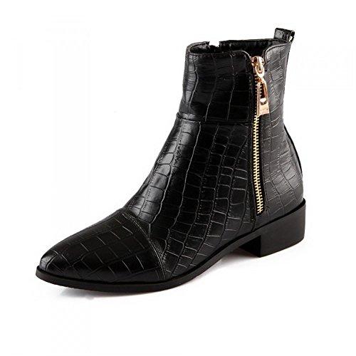 AdeeSu Womens Square Heels Zipper Winkle Pinker Black Imitated Leather Boots - 5.5 B(M) US