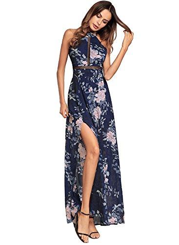 n Backless Halter Neck Back Bandage Beach Boho Sleeveless Floral Print Long Maxi Dress Navy L (Chiffon Print Halter Dress)