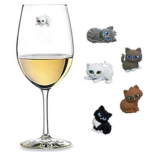 - Cute Cat Wine Charms Set of 5 Magnetic Drink Markers for Stemless Glasses, Champagne Flutes and More - Fun Birthday, Hostess Gift Idea for Cat Lover
