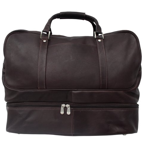 Piel Leather False-Bottom Sports Bag, Chocolate, One Size For Sale