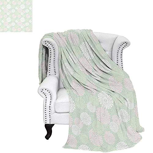 - CHASOEA Mint Oversized Travel Throw Cover Blanket Dahlia Flowers in Pastel Tones Spring Blooms Theme Floral Pattern Travel Throw Blanket 70