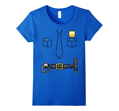 Women's Policeman Costume T-Shirt | Halloween Outfit Shirt Tee Medium Royal Blue (Policeman Costumes)