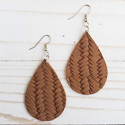 (Tobacco Brown Braided Leather Drop)