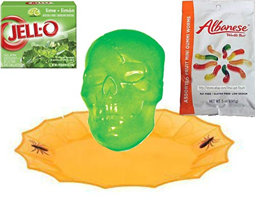 Creepy Halloween Skull Gelatin Mold With Orange Platter,