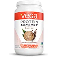 Vega Protein & Energy, Cold Brew Coffee, Plant Based Coffee Protein Powder - Vegan Protein Powder, Keto-Friendly, MCT Oil, Gluten Free, Dairy Free, Soy Free, Non GMO (24 Servings, 1lb 13.7oz)
