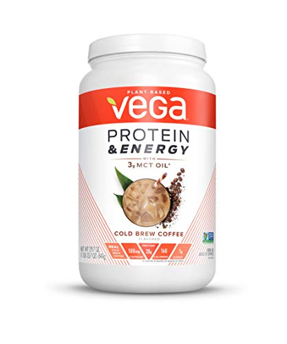 Vega Protein & Energy Cold Brew Coffee (24 servings, 29.7 oz) - Plant Based Vegan Non Dairy Protein Powder, Gluten Free, Keto, MCT oil, Non GMO (Protein Powder Without Caffeine)