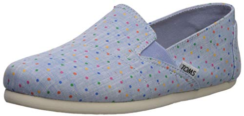 TOMS Women's Redondo Loafer Flat, light bliss blue speckled chambray polka dots 8 B Medium US -