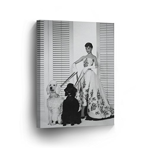 Audrey Hepburn with Two Poodle Dog Canvas Print Decorative Art Modern Wall Décor Artwork Wrapped Wood Stretcher Bars - Ready to Hang - %100 Handmade in the USA