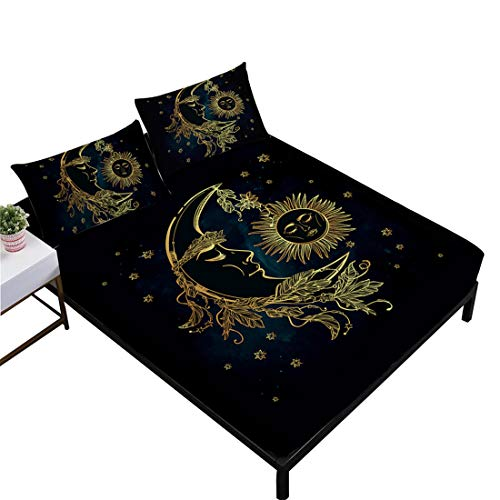 Oliven Bed Sheets Set King Size 3D Gold Moon Sun Printed Sheets Flat Sheet Fitted Sheet Home ()