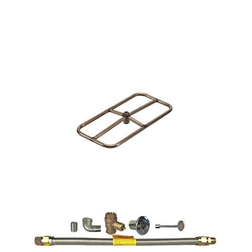 Spotix HPC Rectangle Fire Pit Burner Kit (FPSR18X9KIT-NG-MSCB), 18x9-Inch Burner, Match Light, Natural Gas