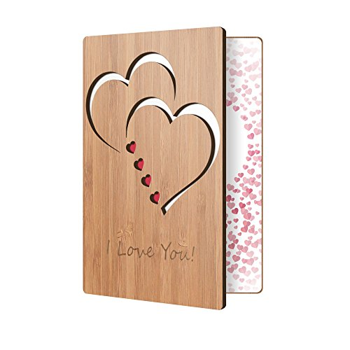 I Love You Card Handmade With Real Bamboo Wood, Wooden Greeting Cards For Any Occasion, To Say Happy Valentines Day Card, Anniversary, Gifts For Wife, Him, Or Her, Or Just Because -