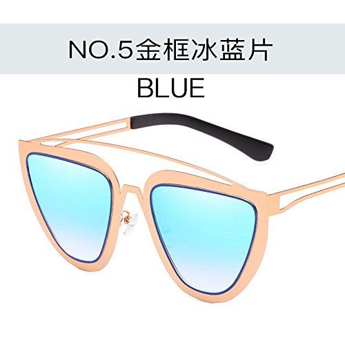 De Conjuntas Metal Personalizadas Sol en Planas JUNHONGZHANG Chip Creativas De Moda De Sol De Azul Color Dorado para Gafas Sol Gafas Gafas Mujer Gafas Gradiente oro De enmarcado azul De TqqzfIY