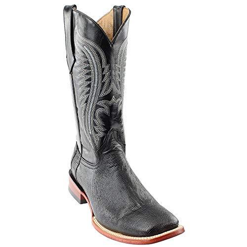 Ferrini Mens Lizard Belly Sq Toe Black Boots ()