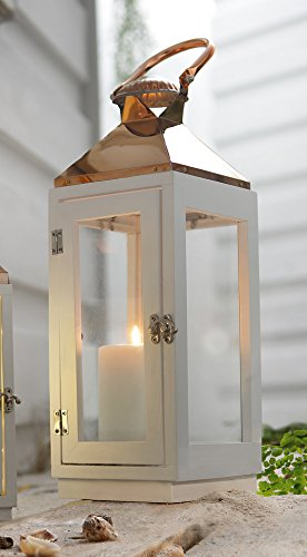 PierSurplus 16.5 in. Copper Top White Wooden Candle Lantern with Rose Gold Hanging Loop - Large Product SKU: CL111853