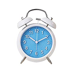 Twin Bell Alarm Clock by Handy Picks - 4 Retro Classic Quartz Non-Ticking Analog Clock, Battery Operated with Stereoscopic Ripple Dial and Backlight - Loud Alarm Clock for Heavy Sleepers (Blue)