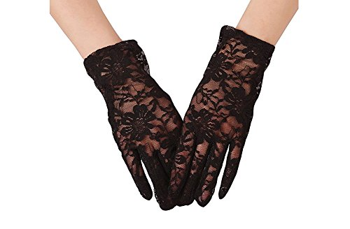 Honeyveil Women's Short Vintage Floral Lace Wrist Length Fullfinger Gloves