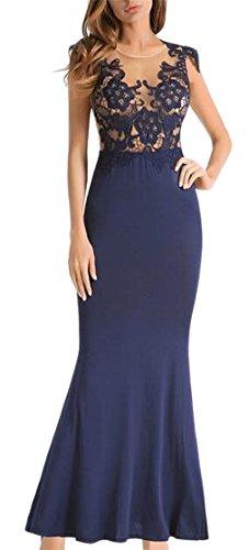 Crew Lace Jaycargogo Bodycon Stitching Sleeveless Mermaid Maxi Neck Blue Dress Womens U45q5F