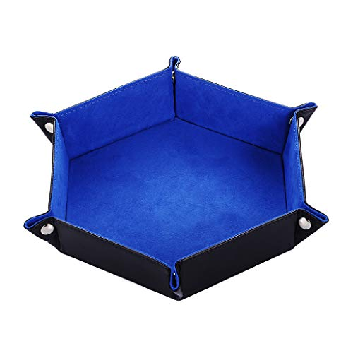 Yiotfandoll Dice Tray PU Leather Folding Dice Holder Storage with Blue Velvet Rolling Surface for RPG DND Dice Table Games 9.5 x 9.5 inch