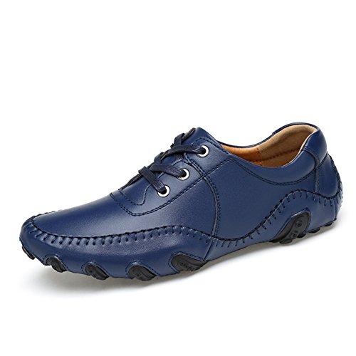 Go Tour Mens Mocassini In Pelle Casual Driving Shoes Blu 45