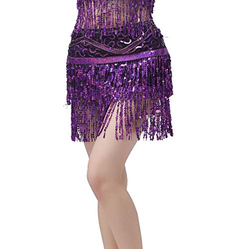 ZLTdream Women's Belly Dance Hip Scarf with Double Rows of Sequins Fringe Purple ()