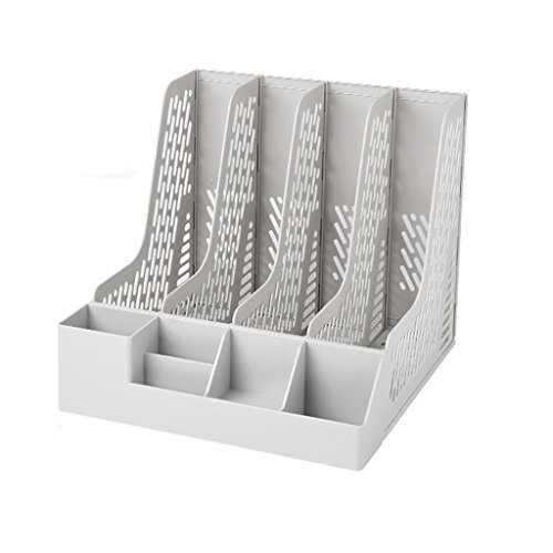 CHAOYANG Multifunction Magazine Holder File Rack,Office Storage Desktop Shelf File Dividers Cabinet Document Tray Organiser Box。 (Color : Gray, Size : 326322274.5mm) (Dividers Shelf File)