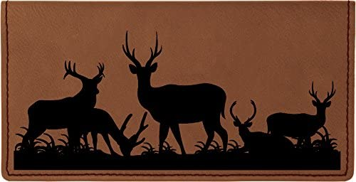 Grazing Deer Laser Engraved Leatherette Checkbook Cover
