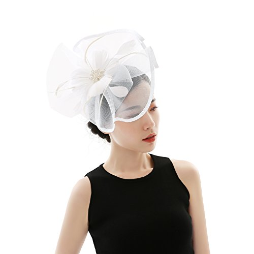 Fascinators Hat Flower - Feather Mesh Net Veil Hat Flower Derby Hat for Women
