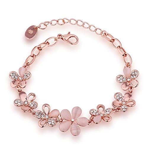 MABELLA 18K Rose Gold Plated Women Adjustable Flower Link Bracelet Bangle Jewelry,Women Gifts for - Daisy Bangle