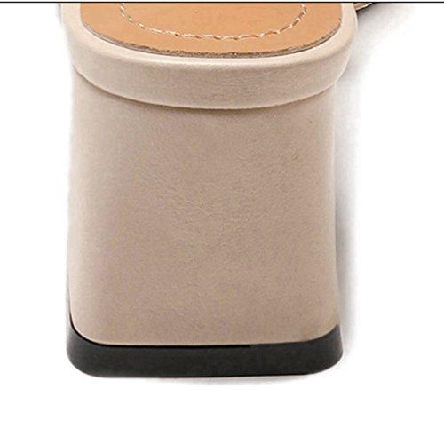 Peep d'Aiguille Beige Femmes Talon Toe Talon Profonde Robe pour Sandales Chaussures empilé Sandale Sandales xgfHwZqF