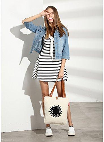 So'each Women's Sun Flower Graphic Top Handle Canvas Tote Shoulder Bag