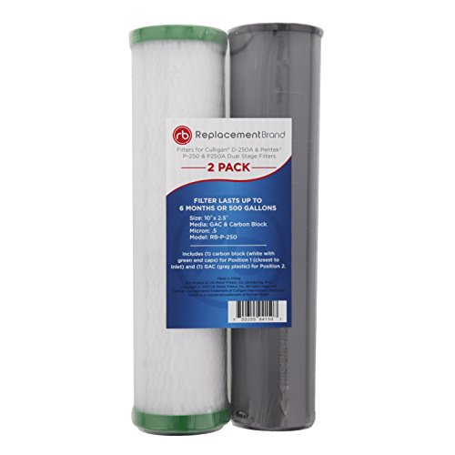 ReplacementBrand RB-P-250 Comparable Filter for the Culligan D-250A, Pentek P-250 and P-250A Dual Stage Filters, 2-Pack