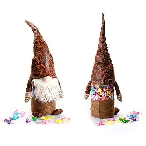 Handmade Swedish Tomte, Clear Plastic Jar/Canister for Christmas Food & Home Storage/Candy Box/Jar/Container & Table Decoration - Mother's Day Gift for Children, Brown ()