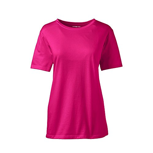 Lands' End Women's Petite Relaxed Short Sleeve Supima Cotton Crew Neck T-Shirt, XL, Pink (Ladies Classic Crewneck Tee)