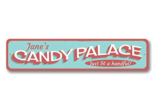 Candy Palace Sign, Personalized Candy Lover Sweet Shop Store Sign, Custom Beach House Sign, Metal Beach Decor - Quality Aluminum ENSA1001347-6 x24 Quality Aluminum Sign