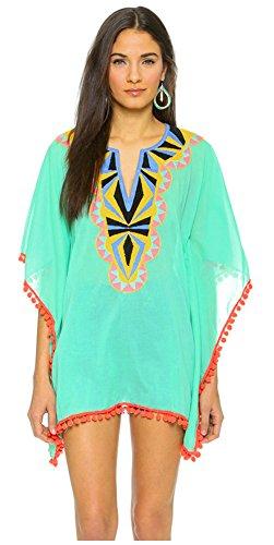 Ilishop Women's Beachwear Cover-ups Tunic Chiffon Geometry Print Kimono Cardigan Green Free