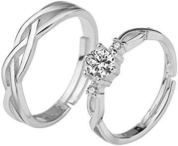 juego de anillos de plata