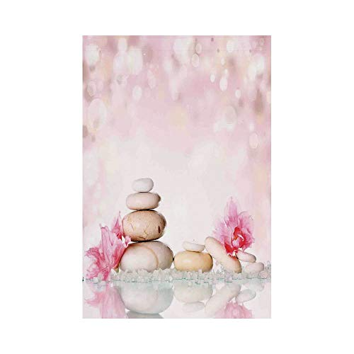 Polyester Garden Flag Outdoor Flag House Flag Banner,Spa,Bohemian Zen Stones and Soft Petals Therapy Tradition Chakra Yoga Asian Picture,Light Pink Peach,for Wedding Anniversary Home Outdoor Garden De -