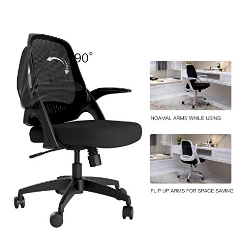 Hbada Modern Desk Comfort Swivel Home Office Task Chair with Flip-up Arms and Adjustable Height, Black