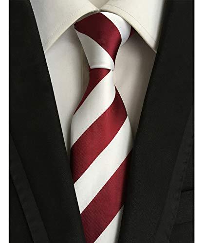 Men's Classic Red White Stripe Tie Jacquard Woven Silk Tie Necktie + Gift Box