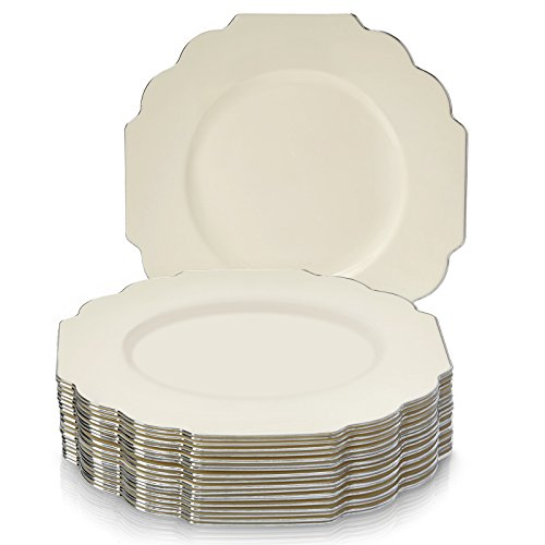 20 Premium Reusable Plastic Dinner Plates | Baroque - Ivory | 10.75
