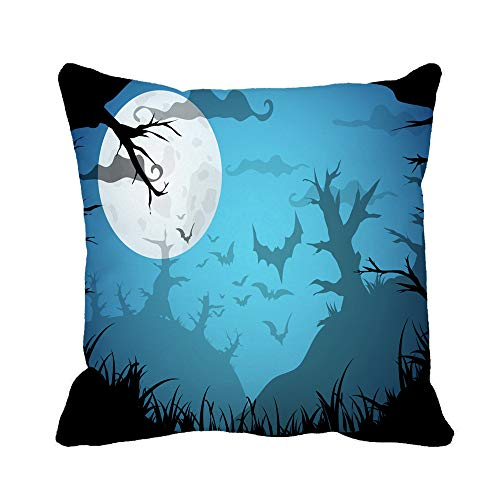 Awowee Throw Pillow Cover Halloween Blue Spooky A4 Border Moon Death Trees 20x20 Inches Pillowcase Home Decorative Square Pillow Case Cushion Cover