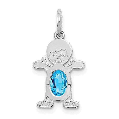 - Jewelry Pendants & Charms Birthstone 14K White Gold Boy 6x4 Oval Genuine Blue Topaz-December