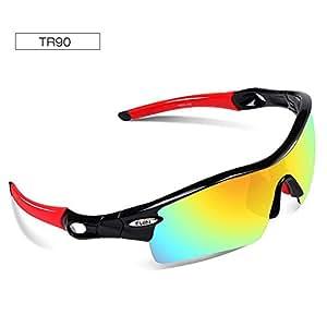Ewin E12 Gafas de Sol de Deporte Polarizadas, 4 Lentes Intercambiables, TR90 Marco Irrompible, Antiniebla, Lentes Antiniebla (Negro y Rojo)