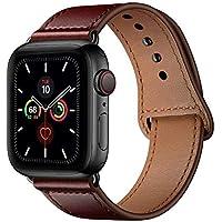 متوافق مع سوار ساعة أبل من الجلد الأصلي 42 مم 44 مم حزام بديل متوافق مع iWatch Series 5 4 3 2 1 42 مم 44 مم، بني أحمر